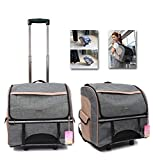 Airline Approved Pet Carrier Backpack with Wheels for Dog/Cat, Multiple Uses Cat/Dog Travel Carrier Bag/Fashion Trolley Roller Bag/Travel Bag, Removable Wheel, for Pet Up to 22 lbs (Grey)