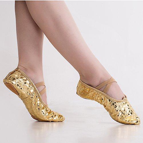 Missfiona Frauen helle PU Leder Ballett Bauch Hausschuhe Ballroom Dance Schuhe mit Wildleder Split-Sole Gold / Punkt
