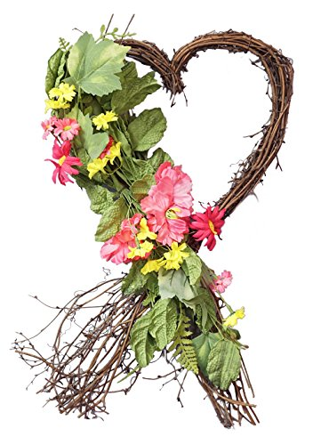 Heart Wreath Craft - Spring Floral Heart Shaped Twig Wreath - 18