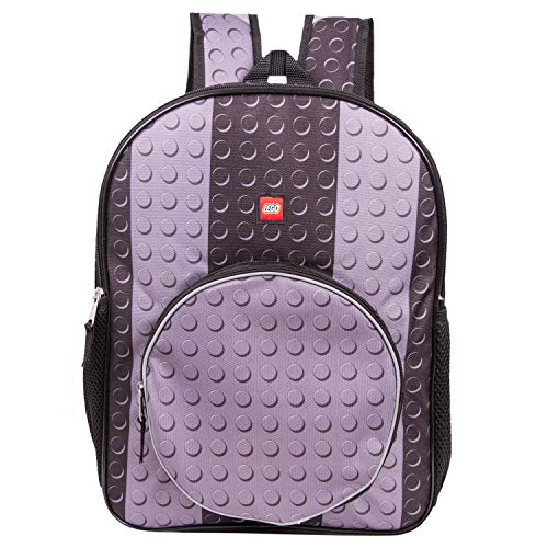 LEGO Classic Black Brick Backpack - Lego Backpack With Zippered Front Pocket -