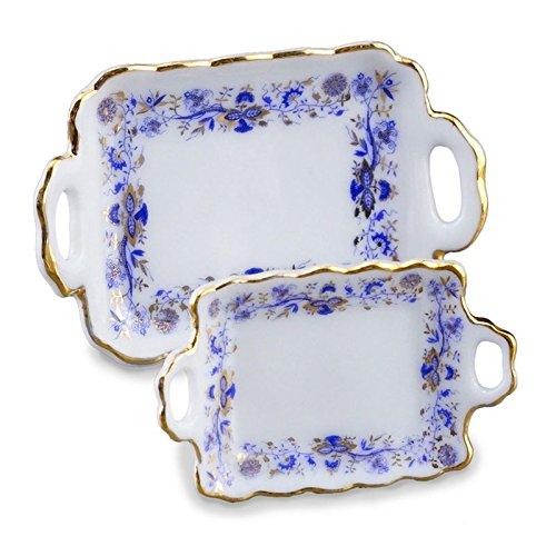 Dollhouse Miniature Blue Onion Serving Tray Set by Reutter Porcelain