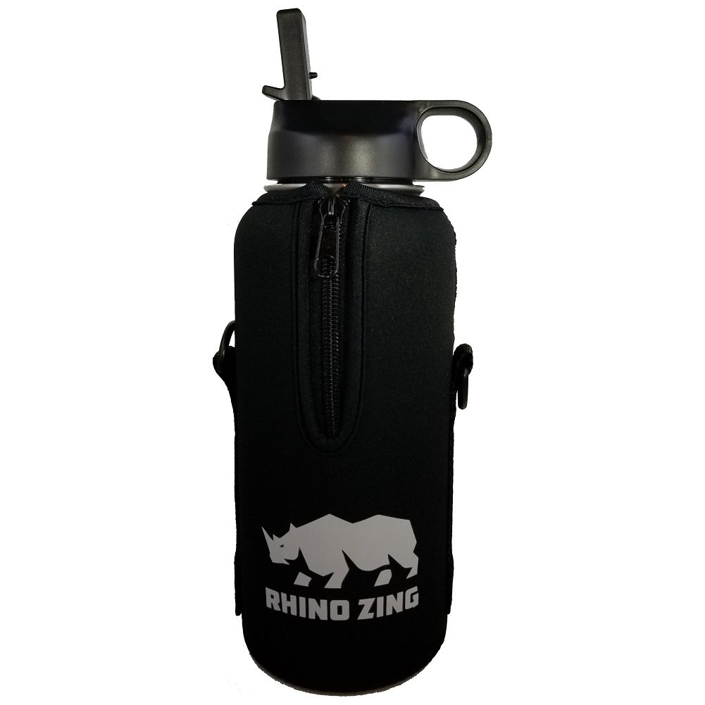 Rhino Zing 32-Ounce Beer Growler Stainless Steel Travel Set. Bundle Water Bottle, Sleeve/Pouch and Straw Lid. Insulated, Wide Mouth