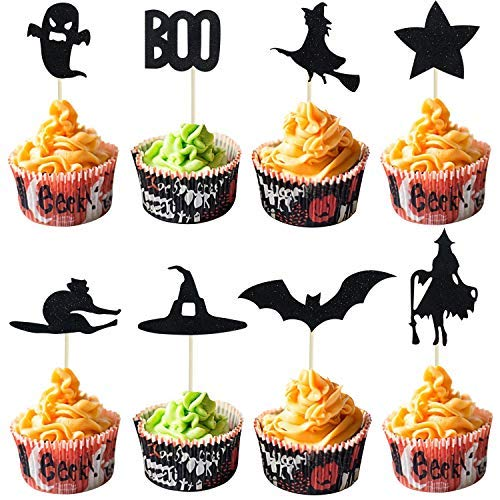 Halloween Cupcake Toppers | Halloween Cupcake Decorations | Ghost Cat Spider Cobweb Witch Hat Cupcake Toppers, 28 Count -