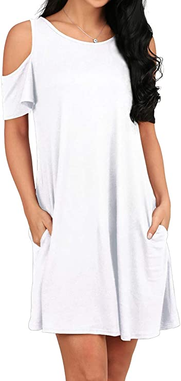 OFEEFAN Women's Round Neck Cold Shoulder Short Sleeves Shift Dress White XL
