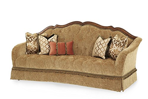 Michael Amini Villa Valencia Wood Trim Tufted Sofa, Classic Chestnut