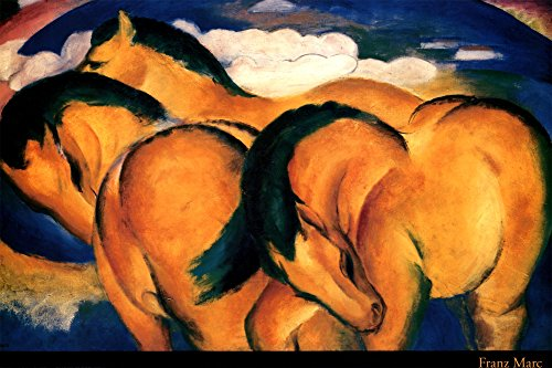 Little Yellow Horses, 1912 Art Print Fine Art Poster Print by Franz Marc, 36x24 (1912 Print)