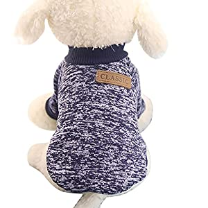 Pet Clothes For Small Dog Girl Dog Boy Soft Warm Fleece Clothing Winter (M, Navy)