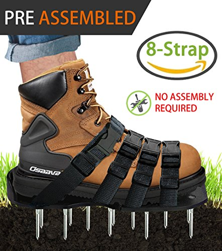 Aerator Attachment (Osaava 47921 Lawn Aerator Shoes, Full ASSEMBLED Spiked Aerating Lawn Sandals With Adjustable 4 straps for Aerating Your Lawn Greener and Healthier Garden or Yard - Sturdy Universal Size that Fits all)