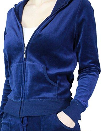 FandS-JO23019 Women's Fashion Hoodie Velour 2 piece Set (SMALL, NAVY-OP109)