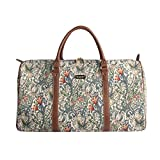 Designer William Morris Women Canvas Carry-on Overnight Weekender Duffel Travel Bag with Floral Golden Lily (BHOLD-GLILY)