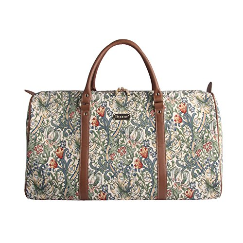 - Designer William Morris Women Canvas Carry-on Overnight Weekender Duffel Travel Bag with Floral Golden Lily (BHOLD-GLILY)