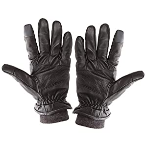 Touch Screen Texting Warm Leather Motorcycle Driving Gloves for Men (Large, Black)