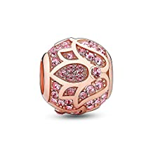 Glamulet Jewelry Women's 925 Sterling Silver Rose Gold Lotus Charm Charm Fits Pandora Bracelet