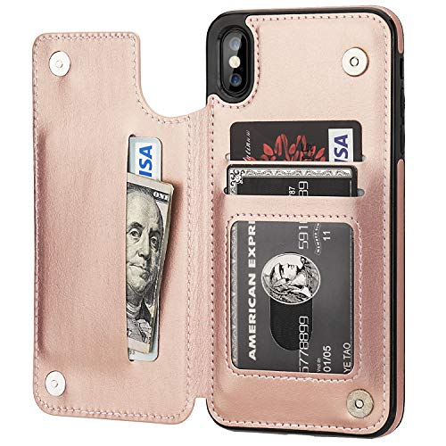 iPhone Xs Max Wallet Case with Card Holder,OT ONETOP Premium PU Leather Kickstand Card Slots Case,Double Magnetic Clasp and Durable Shockproof Cover 6.5 Inch(Rose Gold)