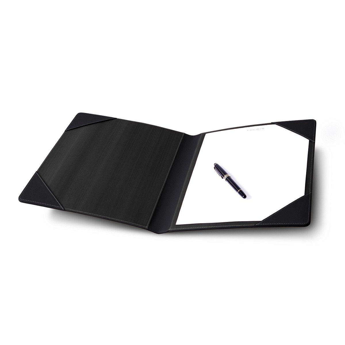 LUCRIN - Signature book - Smooth Cow Leather, Black