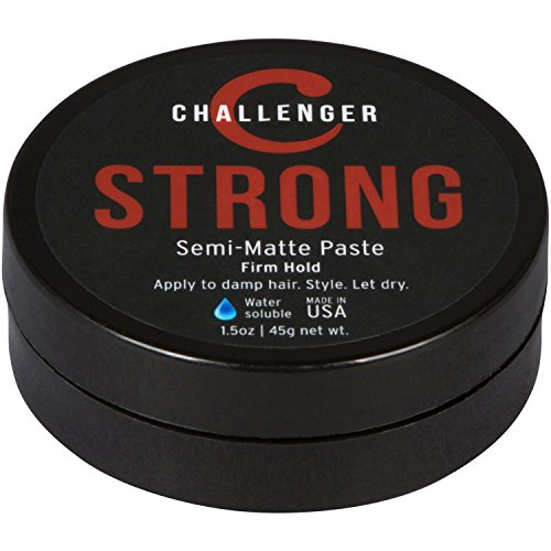 Strong Semi-Matte Paste - Challenger - 1.5OZ Firm Hold - Best Men's Styling Paste - Water Based, Clean & Subtle Scent, Travel Friendly. Hair Wax, Fiber, Clay, Pomade, and Cream, All In One