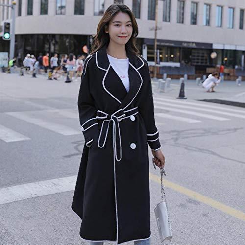 DFSXCZ Spring Ocasional Cazadora Que Hija Media Rodilla L Larga más Femenina es Grande Thin Suelta Negro Código Autumn Coat un rrSYd