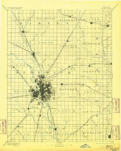 (YellowMaps Wichita KS topo map, 1:125000 Scale, 30 X 30 Minute, Historical, 1894, Updated 1905, 20.04 x 16.11 in - Tyvek)