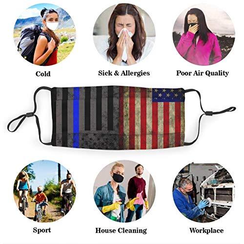 Protective Dust Mask, Activated Carbon Filter Mask, USA Blue Lives Matter Dustproof Safety Mask for Adults Kids