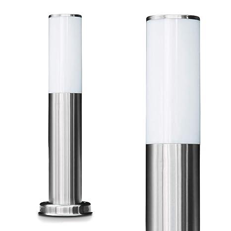 Außenleuchte Caserta Moderne Sockelleuchte Aus Edelstahl Und Kunststoff Scheiben Wegeleuchte 45 Cm Gartenlampe Mit E27 Fassung Max 15 Watt