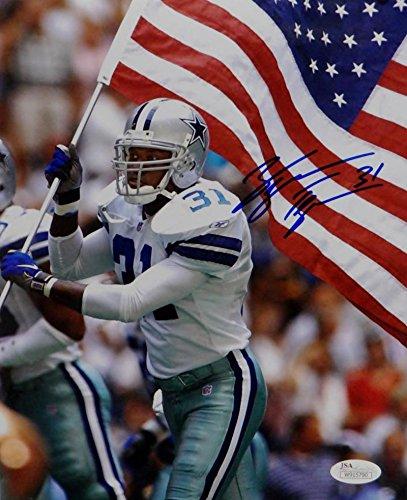 George Teague Autographed Dallas Cowboys 8x10 Holding Flag Photo- JSA W Auth