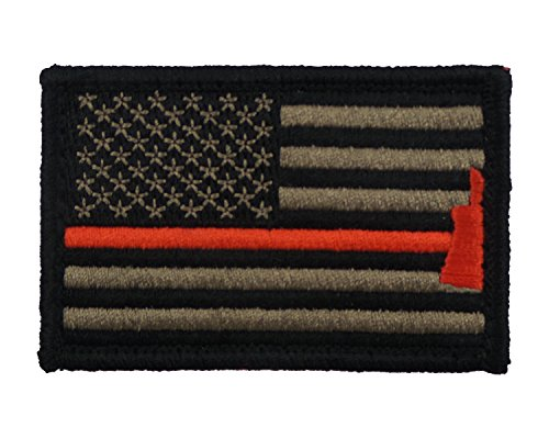 Firefighter Axe US Flag Thin Red Line Hook and Loop Morale P