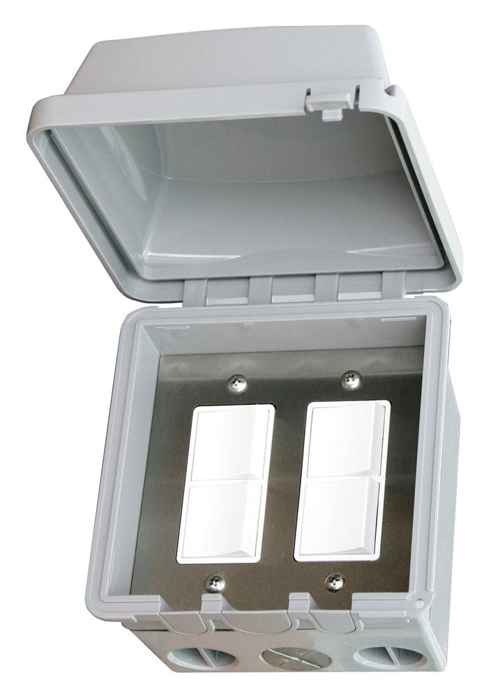 Infratech Exterior Wall Mount Dual Duplex Switch with Waterproof Cover