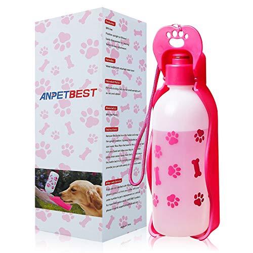 Anpet Dog Water Bottle Water Dispenser, Portable Foldable Travel Mug Drink Bottle for Daily Walks, Hiking, Camping, Beach, BPA Free Plastic (Pink 11 fl oz)