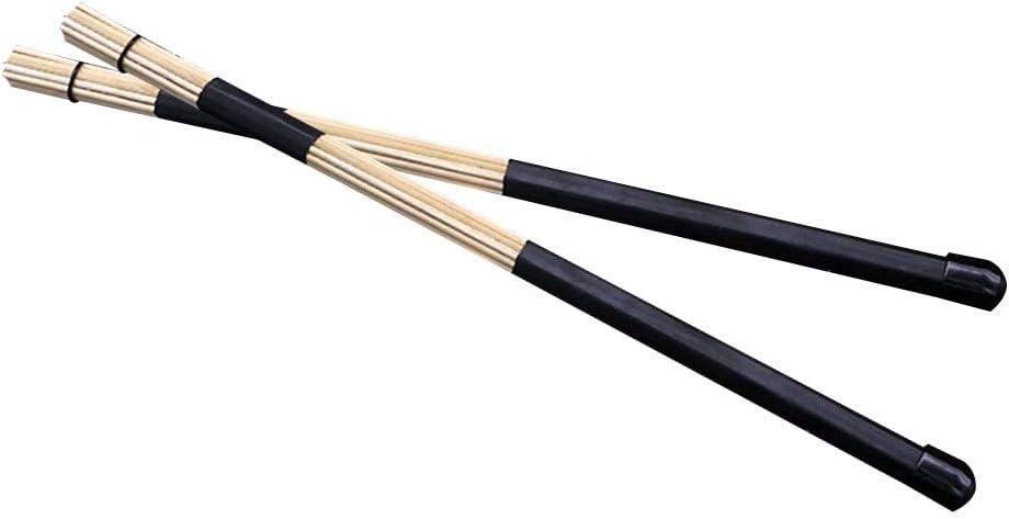 HshDUti 2 St/ücke Professionelle Bambus Rod Drum Brushes Sticks Drumsticks Musikinstrumente Black