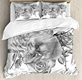 Grey Decor Duvet Cover Set by Ambesonne, Monochrome Illustration with Human Skull and Roses Hand Drawn Watercolors Romantic, 3 Piece Bedding Set with Pillow Shams, Queen / Full, Grey