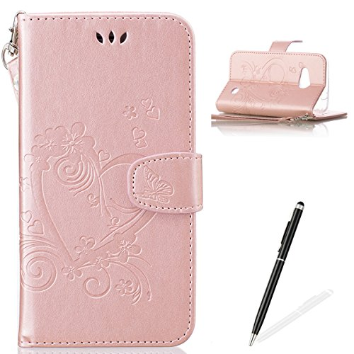 Cotton Embossed Belt (Feeltech Microsoft Lumia N550 Flip Stand case, Luxury Embossed Heart Butterfly Series Premium Ultra Slim PU Leather Wallet Card Slots Wristlet Protective Case for Microsoft Lumia N550 - Rose)