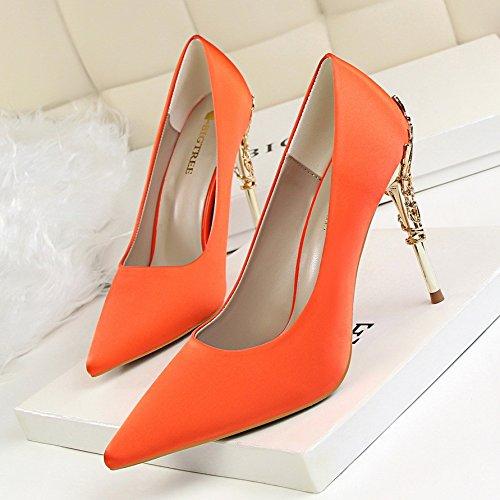 Pointus Hauts lgant Avec Chaussures Bouts Fin De Mariage Mtal Damas Talons Lgre Buse 36 Et Orange T0qnwz