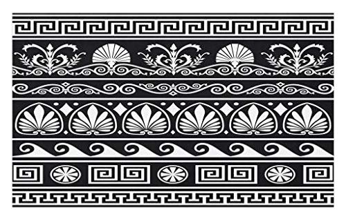 Lunarable Tribal Doormat, Ornamental Design of Antique Greek Borders Horizontal and Repeating Pattern, Decorative Polyester Floor Mat with Non-Skid Backing, 30 W X 18 L inches, Black White by Lunarable