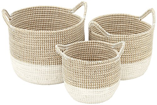 Deco 79 41145 Sea Grass Storage Basket (Set of 3), 13''/16''/18'' W by Deco 79