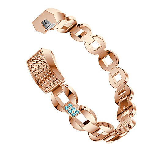 Metal Bands for Fitbit Alta/Fitbit Alta HR Replacement Stainless Steel Bands with Bling Rhinestone Wristband Straps for Fitbit Alta/Alta HR (Rose Gold+Blue Rhinestone) by Hero Iand