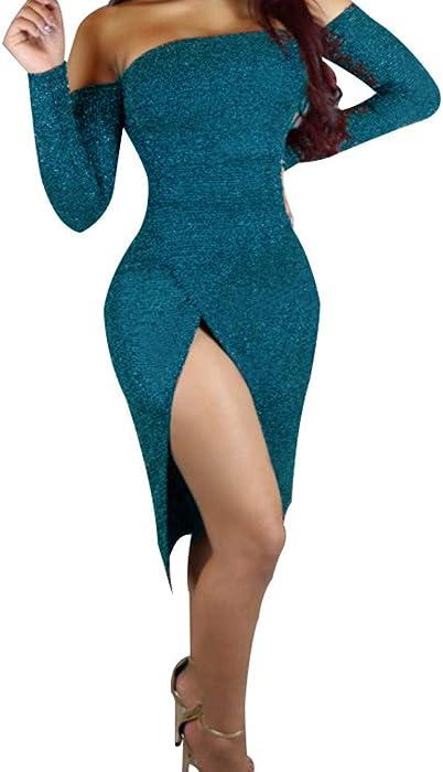 01c8e888ea239e ❤ღThatsoღ❤ Solid Color Sequin Bodycon Mini Dress Front Slit High Waist Tube  Top Long