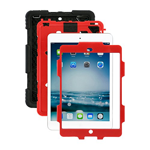 ACEGUARDER Apple Ipad Mini 2 Mini 1&2 Case Waterproof Rainproof Shockproof Kids Proof Case for Ipad Mini 2 Mini 1&2(Gifts Outdoor Carabiner + Whistle + Handwritten Touch Pen) (RED/BLACK) (Cas For The Ipad Mini compare prices)