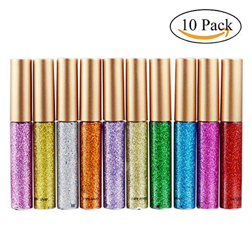 Glitter Liquid Eyeliner, Spdoo 10 Colors Waterproof Shimmer High Pigmented Silver Gold Metallic Colorful Eyeliners