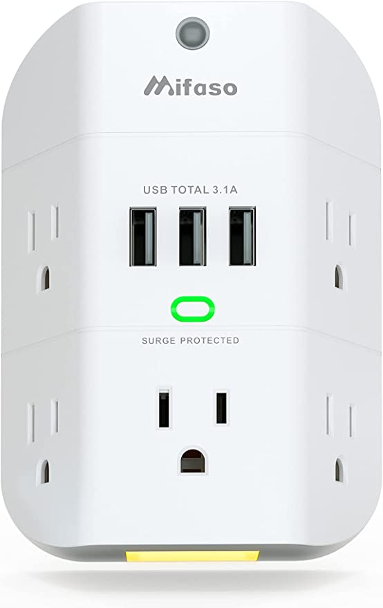 Outlet Extender with Night Light, 5-Outlet Surge Protector with 3 USB Charging Ports, 1800J Power Strip Multi Plug Outlets Wall Adapter Expander with Spaced Outlets for Home, School, Office   Amazon