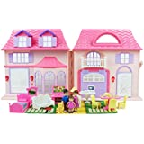 Boley Pretend Play American Doll House Toy Playset - 21-Piece Portable Dollhouse, a Perfect Toddler Girls Kids' Toy Family, Pets, Kitchen Accessories, Lights Sound Doorbell More!
