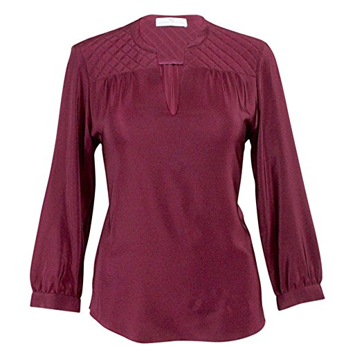 Amanda Blouse Silk (Amanda Uprichard Womens Quilted Silk Shirt Wine Extra Small)