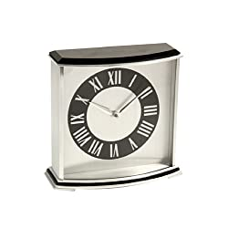 Bey-Berk CM699 Palm Springs, Lacquered Ebony Wood with Stainless Steel Accents Quartz Clock, 7 x 2.75 x 6.75, Brown