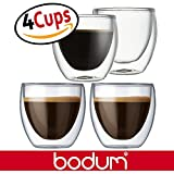 Bodum Pavina 2.5-Ounce Double Wall Glass, Extra Small, Espresso Cups Mugs - Clear (Set of 4 Glasses)