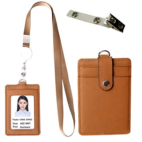 Lucstar Badge Holder Reel Clip Retractable with Lanyard Snap Button ID Card Holder Necklace Horizontal Vertical for Women Student Nurse Heavy Duty 1 Window 2 Back Slots Faux Leather ()
