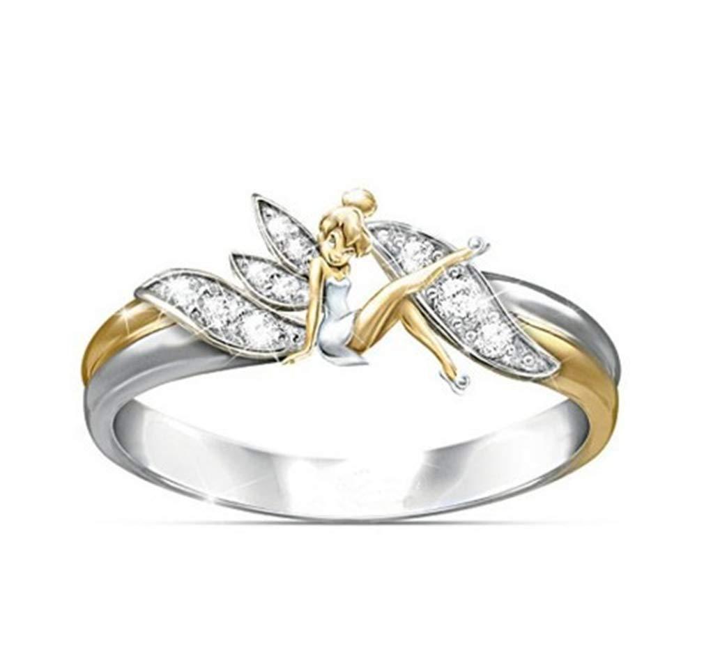 TMROW Angel Wings Ring Rhinestone Ring Jewelry Costume Accessories for Women Gift
