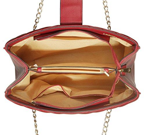 """LeahWard® Damen Mode Desinger Qualität Tragetaschen Damen Modisch Schnell verkaufend Handtaschen Große Größe Schultertaschen CWS00350 (Grau Kette Tasche 10.20"""" X 14.2""""X5.5"""")"""