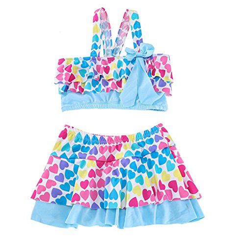 Paciffico Girls Two Piece Colorful Rainbow Cake Skirt Bathing Suit Tankini Swimsuit Swimwear