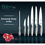 "Kitchen Gadgets Utensil Knives Set - 13 Piece Stainless Steel Block - Spatula, Serving Spoon, Spaghetti Server, Soup, Dessert Ladle, Skimmer, Chef, Bread, Carving, Utility, Paring, Knife & Sharpener 11 ✔️ ALL TOGETHER & HIGH QUALITY, set includes Spatula, Serving Spoon, Spaghetti Server, Soup, Dessert Ladel, Skimmer, 8"" Chef, 8"" Bread, 8"" Carving, 5"" Utility, 3½"" Paring, Sharpener & Stand - All blades are made with strong heavy duty restaurant grade # 430 stainless-steel, - comply with certification from the FDA for the home and commercial use. ✔️ EASY TO HANDLE & MAINTAIN, Our classic lightweight utensils & knives is Tapered handles fit perfectly in your hand to maximize control and ensure comfort when serving or cutting, slicing, mincing and chopping all foods & cakes. These handles are a solid one piece nice design. ✔️ MODERN DESIGN! Our professional, nice acrylic block on your counter, will make your mornings easier and brighter, Plus a beautiful design box ready to be gifted, ""you deserve it!"""