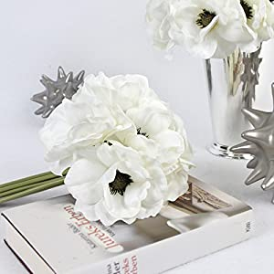 """G Home Collection Luxury Silk 9 Anemone Flower Bouquet in White 10"""" Tall 42"""