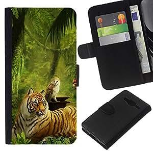 EJOY --- Funda cartera Funda de piel Premium piel sintética caso/Samsung Galaxy Core Prime/–-Painting tigre verde selva búho animales